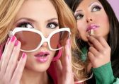 Fashion barbie doll style girls pink lipstip makeup — Stock Photo