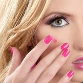 Lipstick red on makeup skin blonde macro — Stock Photo