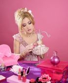 Barbie doll blonde pink vanity table fashion designer — Stock Photo
