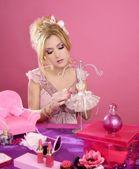 Barbie doll blonde pink vanity table fashion designer — Stock Photo