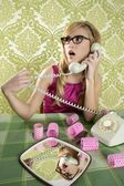 Retro housewife telephone woman vintage wallpapaper — Stock Photo
