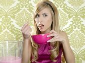 Retro woman breakfast eating corn flakes — Stock Photo