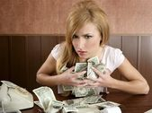 Greed money retro woman office vintage accountant — Stock Photo