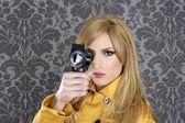 Fashion Super 8mm camera reporter woman vintage — Stock Photo