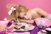 End party pink princess barbie fashion woman sleeping — Stock Photo