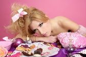 End party pink princess barbie fashion woman tired — Stock Photo