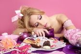 Drunk party princess barbie pink fashion woman — Stock Photo