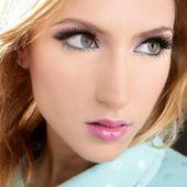 Blonde face makeup macro detail pink lipstick — Stock Photo