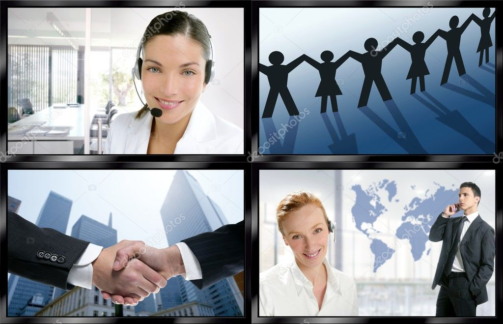 Futuristic tv video news digital screen wall with business concepts — Stock Photo #5494786