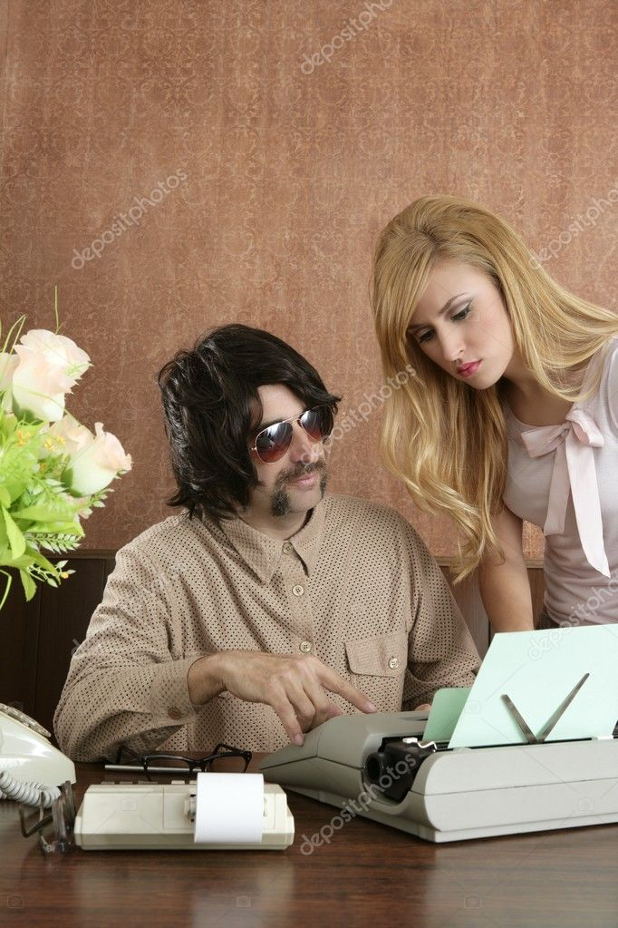 Mustache retro businessman sexy blond secretary office — Stock Photo #5494907