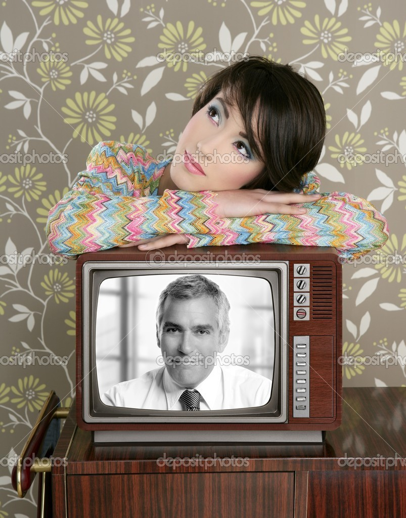 Retro woman in love with tv senior handsome hero vintage 60s wallpaper  Stock Photo #5494910