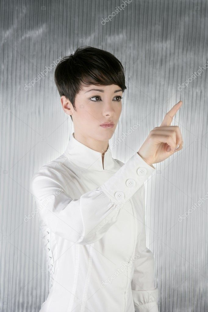 Futuristic androgynous businesswoman touchpad finger touching pad — Stock Photo #5495221