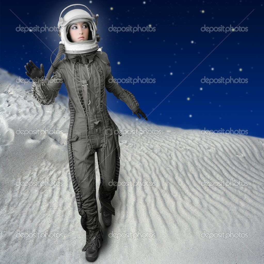 Astronaut woman futuristic metaphor moon out space planets — Stock Photo #5495323