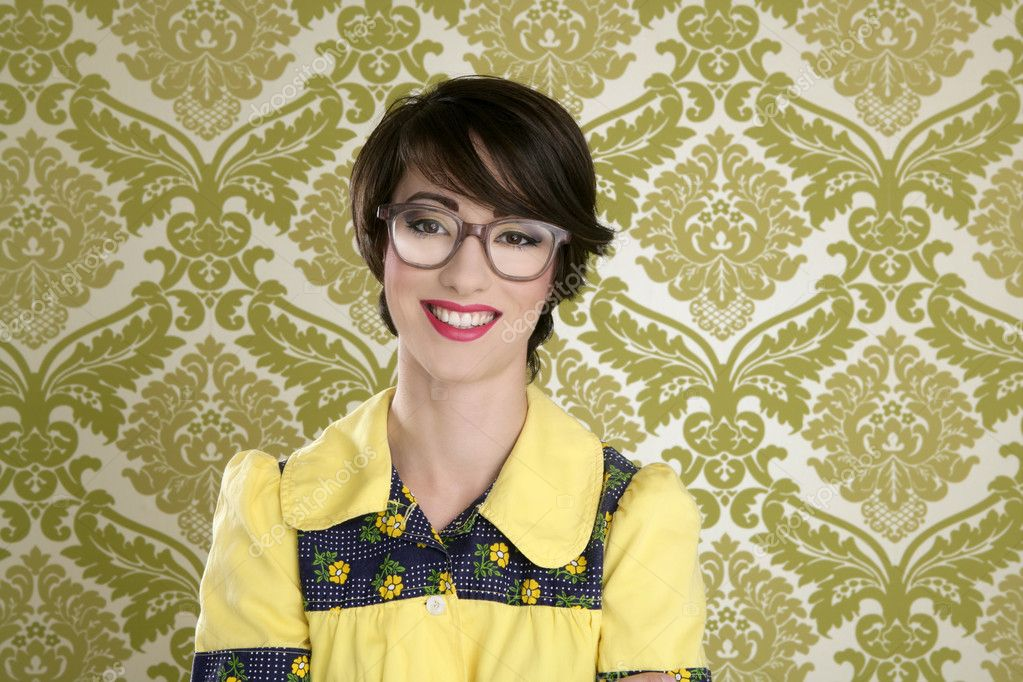 Nerd woman retro portrait 70s wallpaper vintage housewife  Stock Photo #5495423