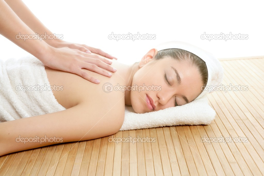 Beautiful woman on spa massage on her back — Stock Photo #5495524