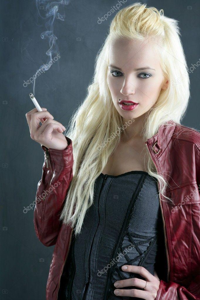 stock photo blonde smoking cigarette young fashion