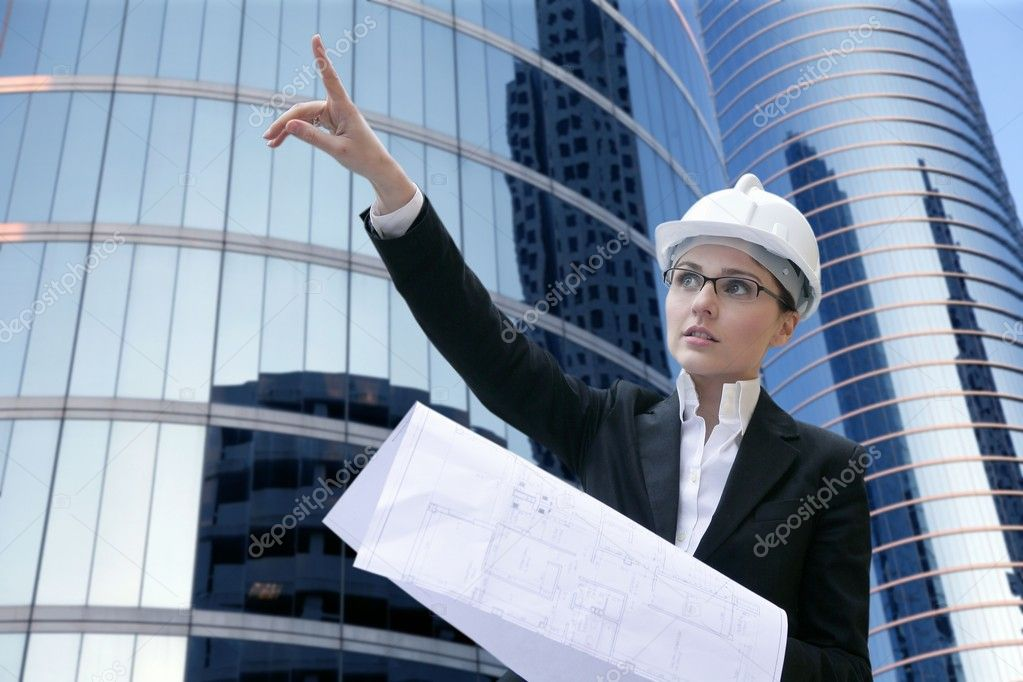 Architect woman working outdoor with modern buildings — Stock Photo #5496605