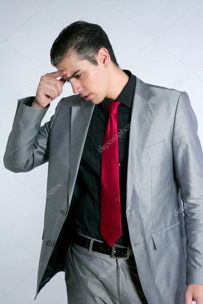 Businessman worried headache stressed and sad by work  Stock Photo #5496770