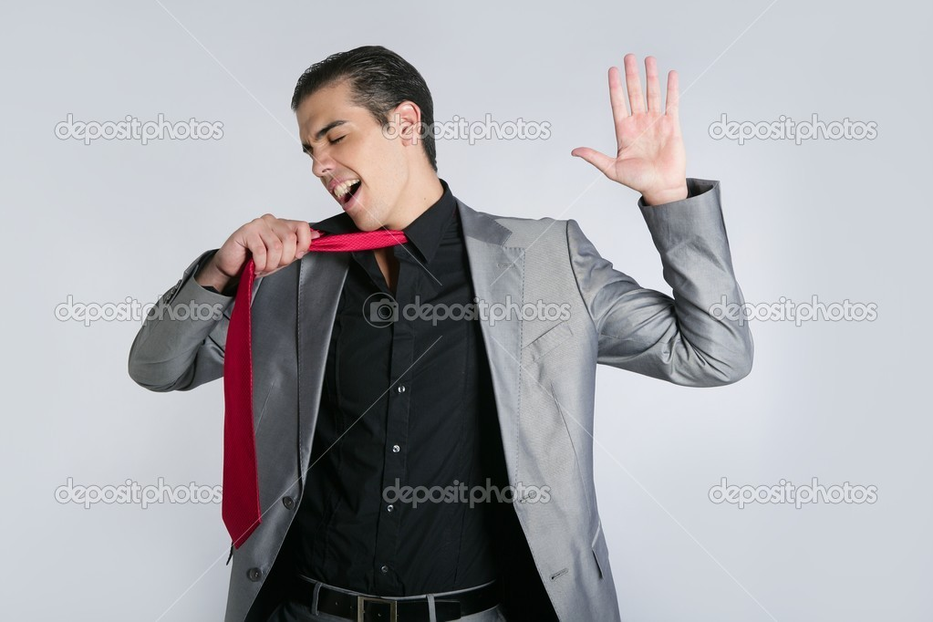 Businessman break finish work upset take off tie  Stock Photo #5496782