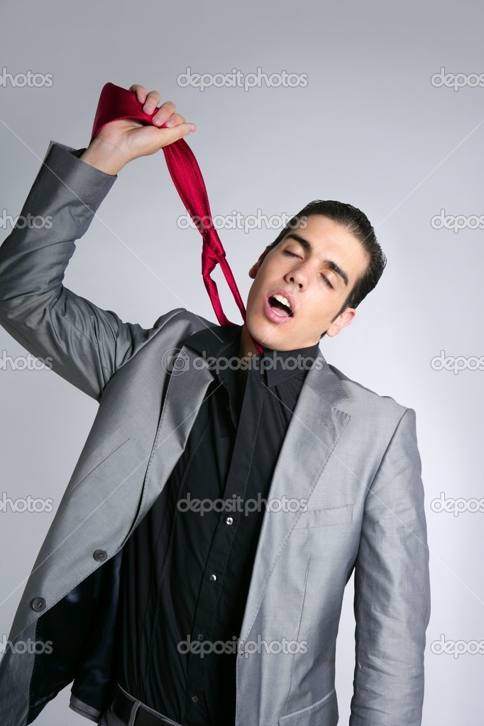 Businessman break finish work upset take off tie — Stock Photo #5496787