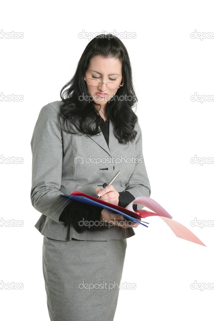 Businesswoman unhappy folder document results negative expression — Stock Photo #5497018