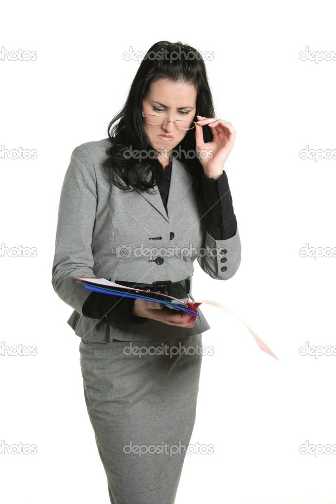 Businesswoman unhappy folder document results negative expression — Stock Photo #5497024