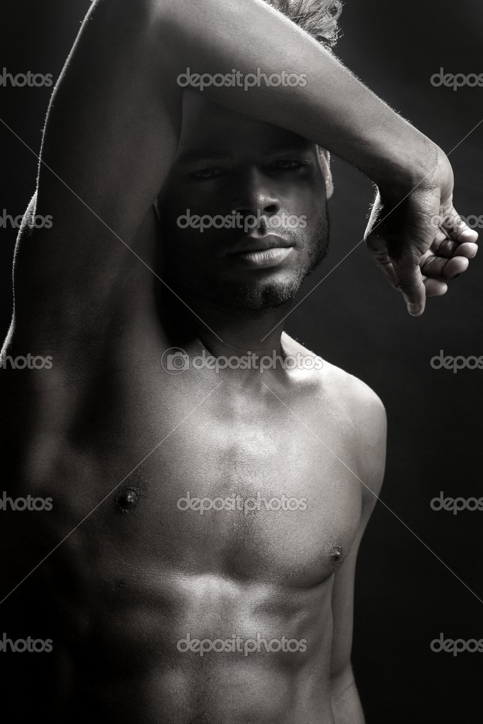 African american nude torso black sexy man at studio — Stock Photo #5497226