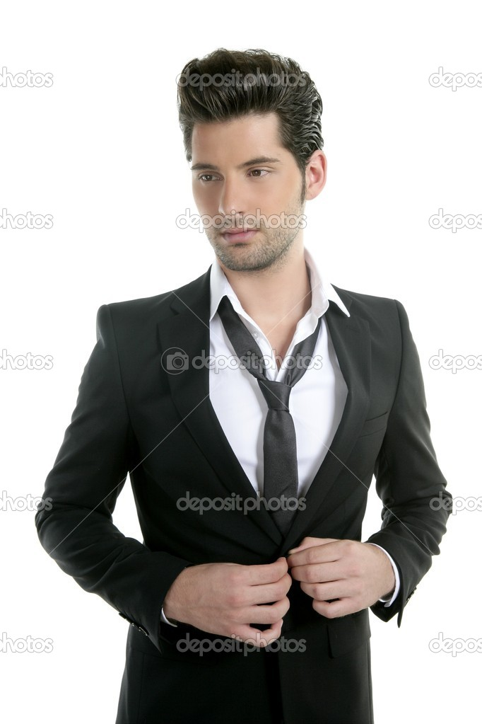 Handsome young man suit casual necklace suit isolated on white — Stock Photo #5497330