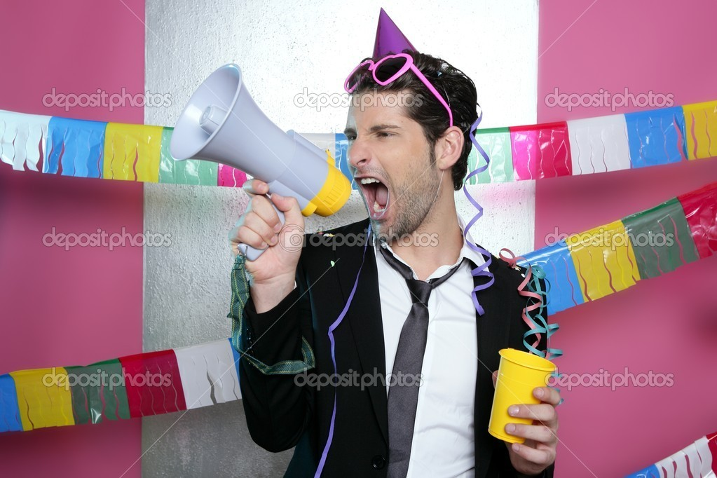 Loudspeaker crazy party man shouting happy holiday — Stock Photo #5497453