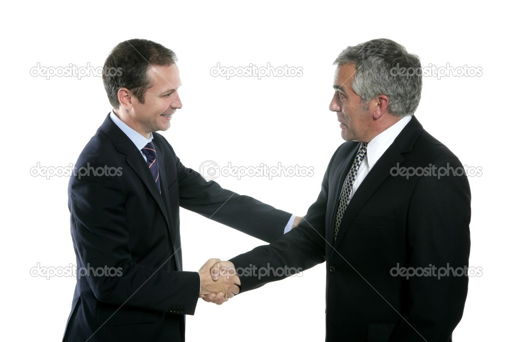 Adult businessman handshake expertise portrait dark suit white background — Stock Photo #5497660