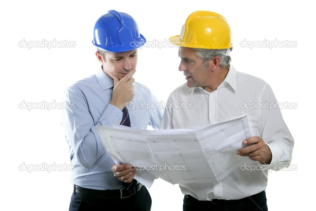 Architect engineer two expertise team plan talking hardhat white background — Stock Photo #5497712