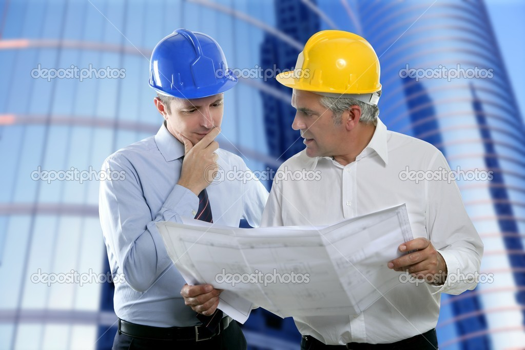 Architect engineer two expertise team plan talking hardhat skyscraper buildings   #5497863