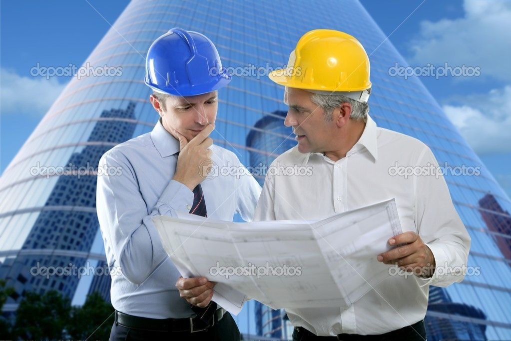 Architect engineer two expertise team plan talking hardhat skyscraper buildings  Foto Stock #5497865