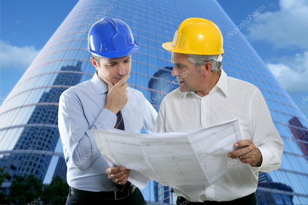Architect engineer two expertise team plan talking hardhat skyscraper buildings — Foto Stock #5497865