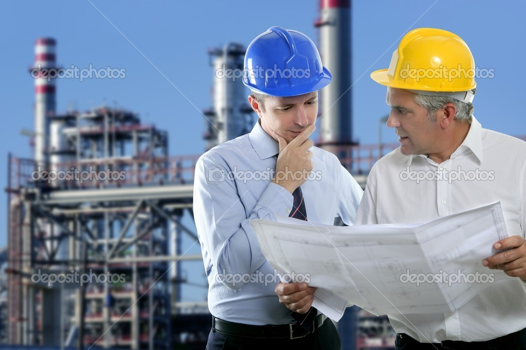 Architect engineer expertise team plan talking hardhat petrol industry — Stock Photo #5497867