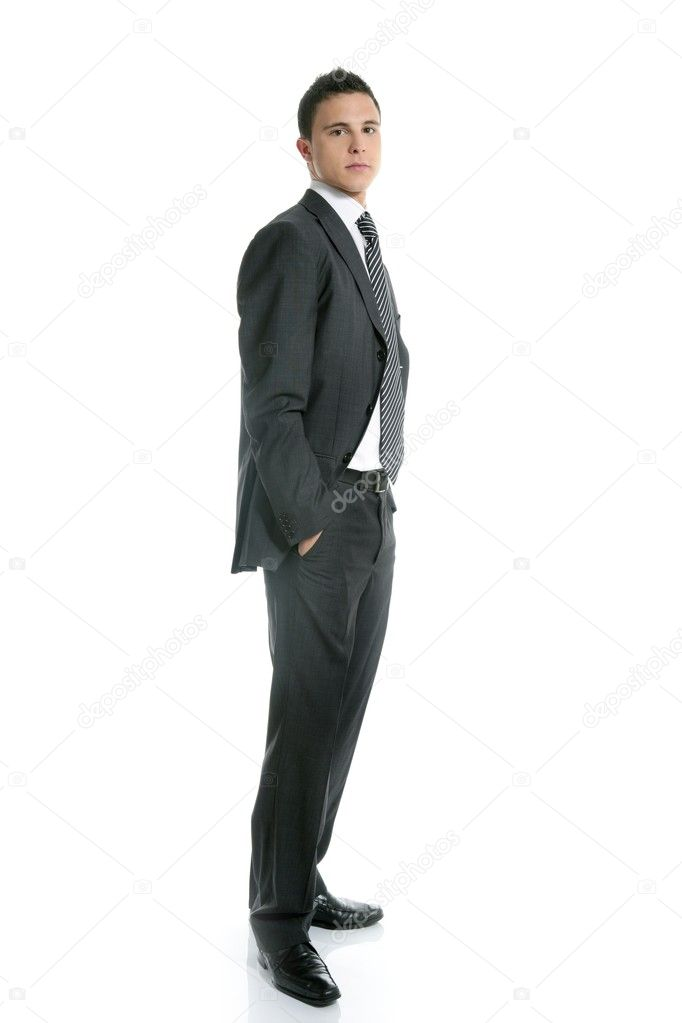 Businessman young stand up, full length on white background — Stock Photo #5499012