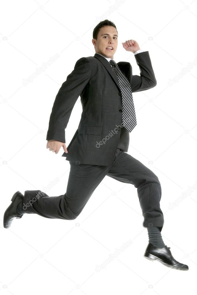 Businessman jumping at studio, full length isolated on white — Stock Photo #5499014