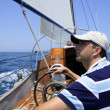 Sailor sailing in the sea. Sailboat over blue — Stock Photo #5500148