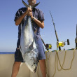 Angler fihing big game bluefin tuna on Mediterranean — Stock Photo