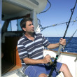 Angler big game saltwater fisher boat — Stock Photo