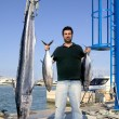 Angler fish catch albacore tuna and spearfish — ストック写真