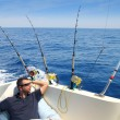 Sailor man fishing resting in boat summer vacation — Стоковое фото #5500234