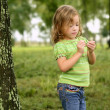 Little toddler girl playing on the park — Stock Photo #5500292