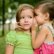 Two twin little sister girls whisper in ear - Stock Photo