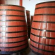Natural wood wine golden barrel cellar — Stock Photo
