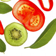 Bay tree leaf, strawberry, red pepper, kiwi and tomato - Stock Photo