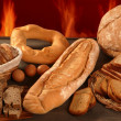 Bread still life with varied shapes and bakery fire — Stock Photo