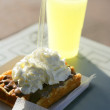 Royalty-Free Stock Photo: Lemonade and cream waffle pastry