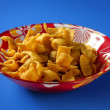Fried corn golden snack in plate — Stock Photo