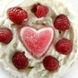 Jelly hearth cream cake with raspberries — Stock Photo